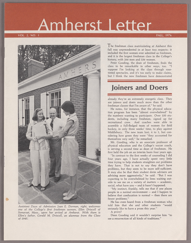 Amherst letter, 1976 fall