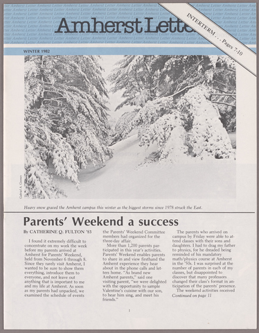Amherst letter, 1982 winter