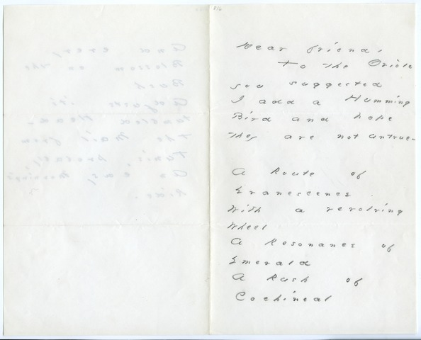 Emily Dickinson letter to Helen (Hunt) Jackson
