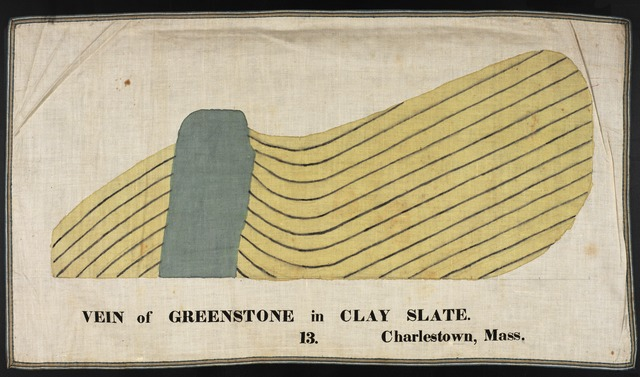 Orra White Hitchcock drawing of vein of greenstone in clay slate, Charlestown, Massachusetts
