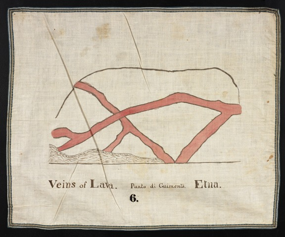 Orra White Hitchcock drawing of veins of lava, Punto di Cuimento, Mount Etna, Italy
