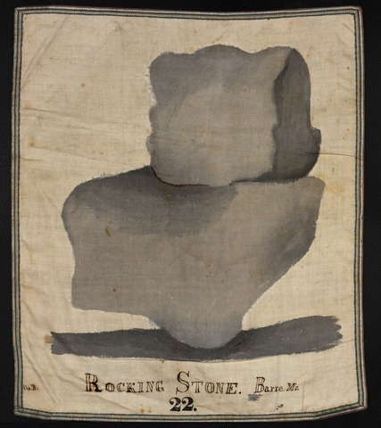 Orra White Hitchcock drawing of rocking stone, Barre, Massachusetts
