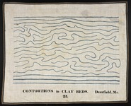 Orra White Hitchcock drawing of contortions in clay beds, Deerfield, Massachusetts