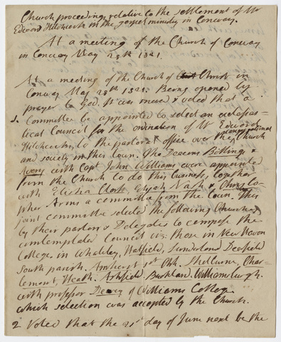 Minutes of a meeting of the Congregational Church of Christ in Conway, 1821 May 28