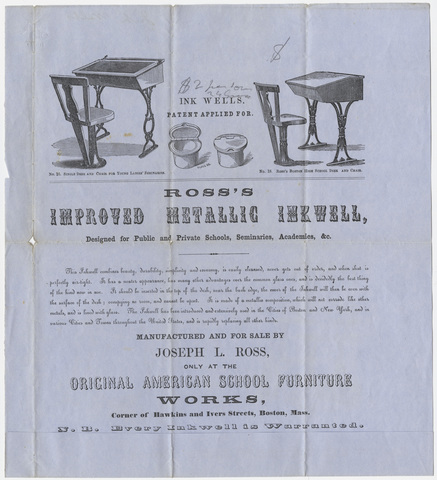 Advertisement for Joseph L. Ross's improved metallic inkwell