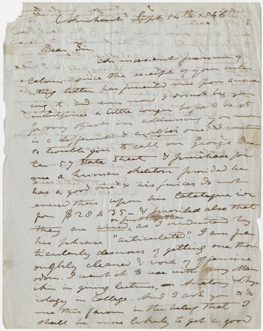 Edward Hitchcock letter to unidentified recipient, 1846 September 14