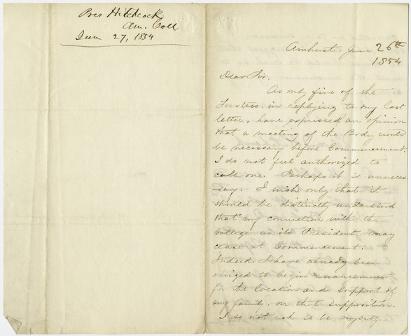 Edward Hitchcock letter to unidentified recipient, 1854 June 26