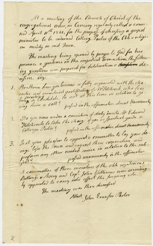 Minutes of a meeting of the Church of Christ of the Congregational order, 1821 April 11