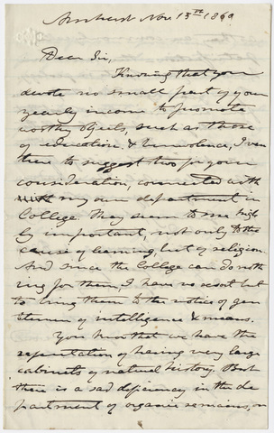 Edward Hitchcock letter to an unidentified recipient, 1860 November 15