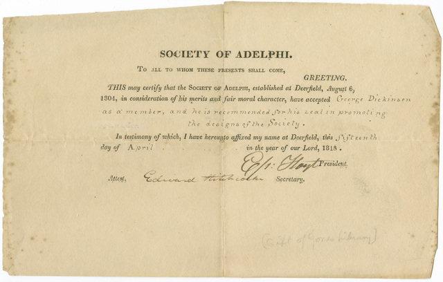 George Dickinson certificate of acceptance to Society of Adelphi