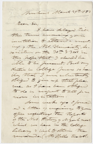 Edward Hitchcock letter to unidentified recipient, 1853 March 29