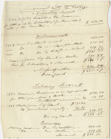Edward Hitchcock laboratory and library account with the Amherst College, 1852-1853