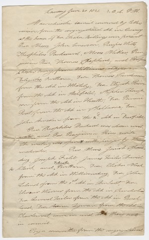 Minutes of an Ecclesiastical Council meeting, 1821 June 20