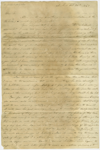 Edward Hitchcock letter to unidentified recipient, 1851 October 20