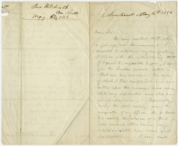 Edward Hitchcock letter to unidentified recipient, 1854 May 4