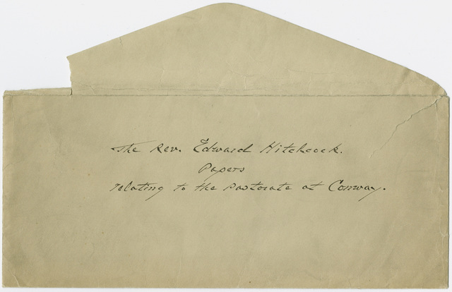 Envelope for the Rev. Edward Hitchcock papers relating to the pastorate at Conway