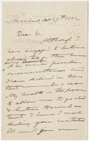 Edward Hitchcock letter to unidentified recipient, 1852 October 29