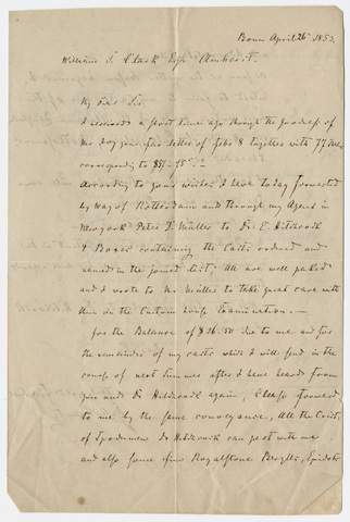 August Krantz letter and invoice to William S. Clark, 1853 April 26