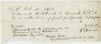 Edward Hitchcock receipt of payment to Roswell Field, 1854 February 11