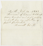 Edward Hitchcock receipt of payment to Roswell Field, 1863 February 14