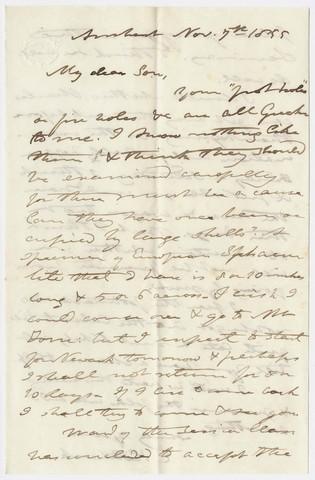 Edward Hitchcock letter to Edward Hitchcock, Jr., 1855 November 7