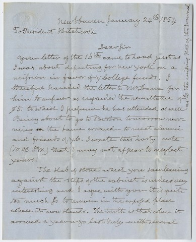 Benjamin Silliman letter to Edward Hitchcock, 1854 January 24