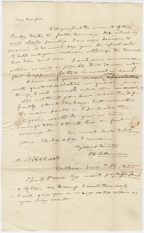 Benjamin Silliman letter to Edward Hitchcock, 1835 November 5