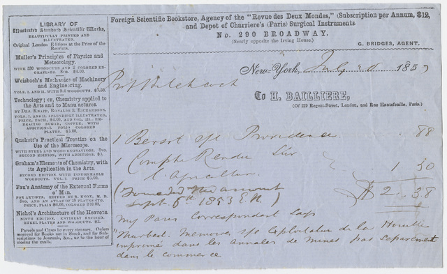 Edward Hitchcock receipt of payment to Hippolyte Bailliere, 1853 July 3