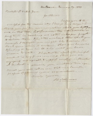 Benjamin Silliman letter to Edward Hitchcock, 1833 January 19