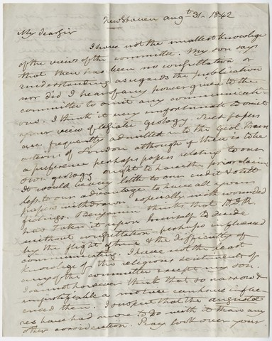 Benjamin Silliman letter to Edward Hitchcock, 1842 August 31