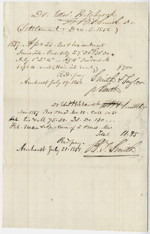 Payments made by Edward Hitchcock to Smith & Taylor, 1858