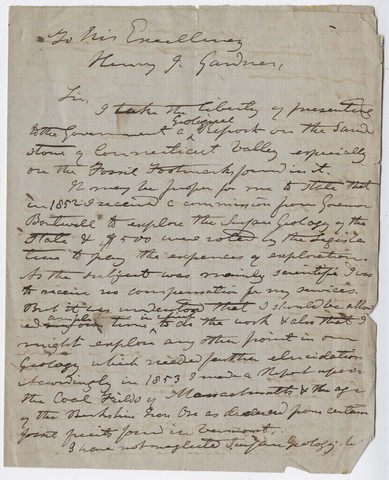 Edward Hitchcock letter to Governor Henry Gardner