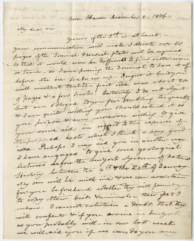 Benjamin Silliman letter to Edward Hitchcock, 1836 December 8