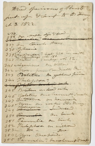 Edward Hitchcock list of specimens sent to John Torrey, 1822