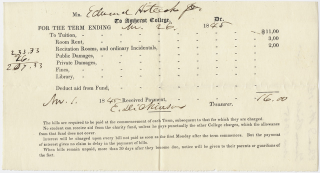 Edward Hitchcock receipt of payment to Amherst College, 1845 November 1