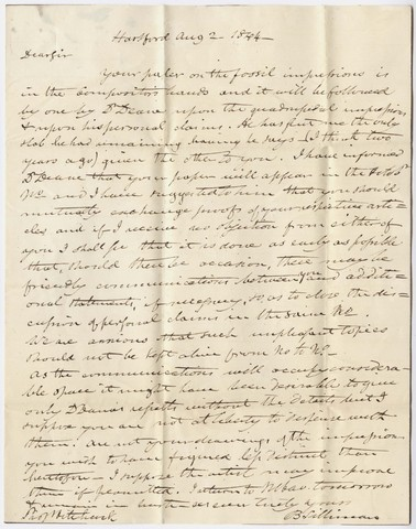 Benjamin Silliman letter to Edward Hitchcock, 1844 August 2