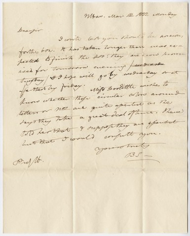 Benjamin Silliman letter to Edward Hitchcock, 1832 March 12