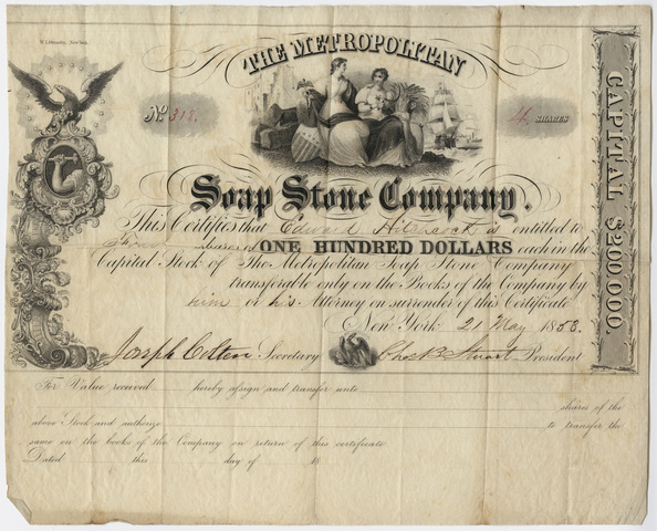 Edward Hitchcock stock certificate of The Metropolitan Soap Stone Company