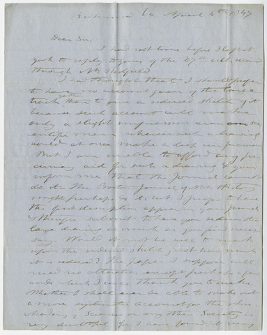 Edward Hitchcock letter to Benjamin Silliman, Jr., 1847 April 5
