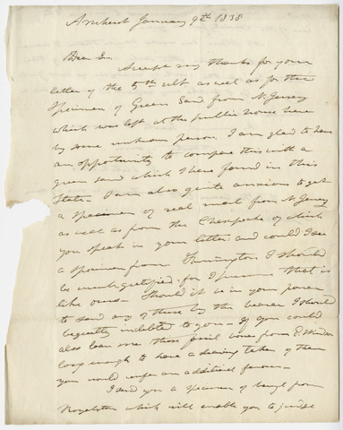 Edward Hitchcock letter to Benjamin Silliman, 1838 January 9