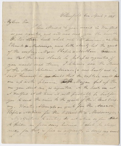 George White letter to Edward Hitchcock, 1829 April 9
