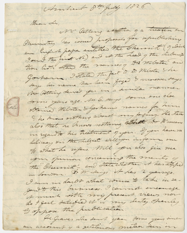 Edward Hitchcock letter to Benjamin Silliman, 1826 July 8