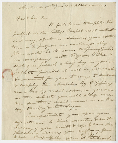 Edward Hitchcock letter to William B. Sprague, 1828 June 15