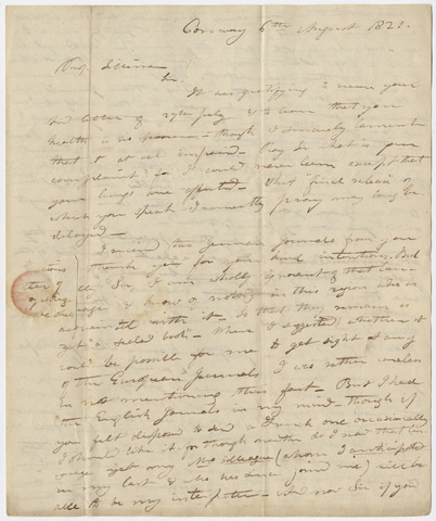 Edward Hitchcock letter to Benjamin Silliman, 1821 August 6