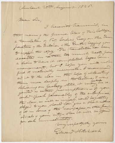 Edward Hitchcock letter to John Griscom, 1828 August 20