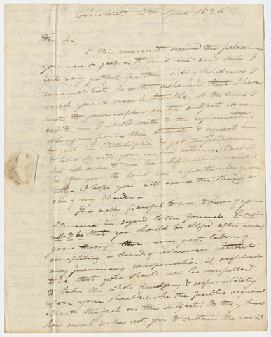 Edward Hitchcock letter to Benjamin Silliman, 1826 April 18