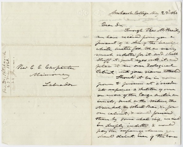 Edward Hitchcock letter to Charles Carroll Carpenter, 1860 May 23