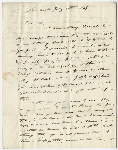 Edward Hitchcock letter to Benjamin Silliman, 1839 July 20