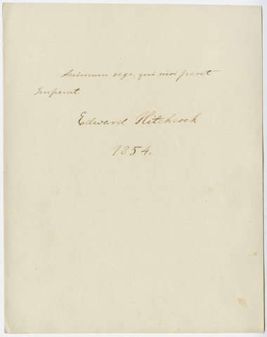 Edward Hitchcock signature, 1854