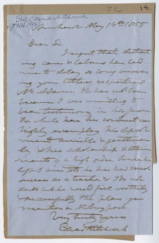 Edward Hitchcock letter to unidentified recipient, 1855 May 14